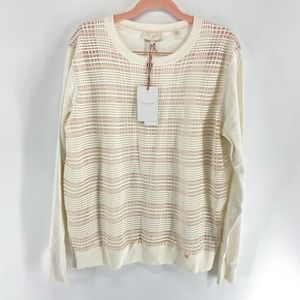 Ted Baker White Pink plaid Front Sweater